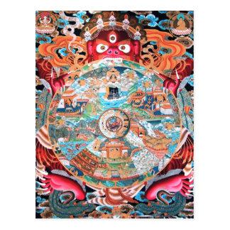 Arte budista tibetano (rueda de la vida) tarjeta postal