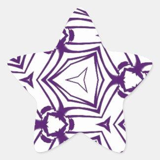 Arte caleidoscópico púrpura de Digitaces del color Pegatina En Forma De Estrella