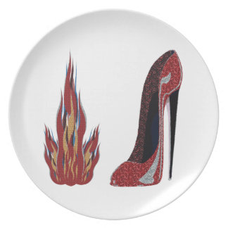 Arte candente del zapato del estilete platos