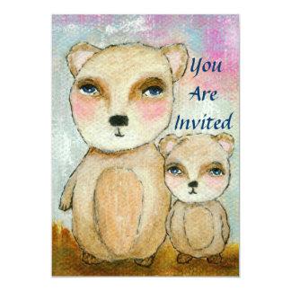 """Arte caprichoso de los osos de la fiesta de invitación 5"""" x 7"""""""