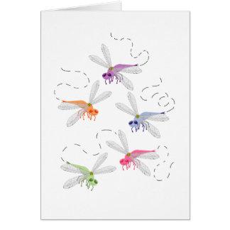 Arte caprichoso del dibujo animado de las libélula tarjeta de felicitación