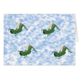 Arte caprichoso del dibujo animado del saltamontes tarjeta de felicitación