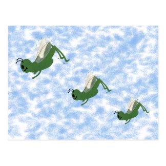 Arte caprichoso del dibujo animado del saltamontes tarjeta postal
