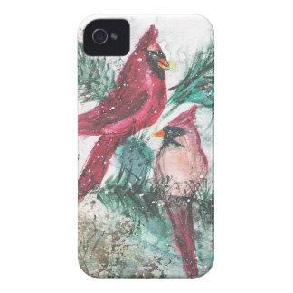 Arte cardinal de la acuarela iPhone 4 Case-Mate protector