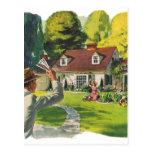 Arte casero agradable retro del anuncio de casa de postales