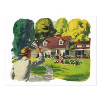Arte casero agradable retro del anuncio de casa postal