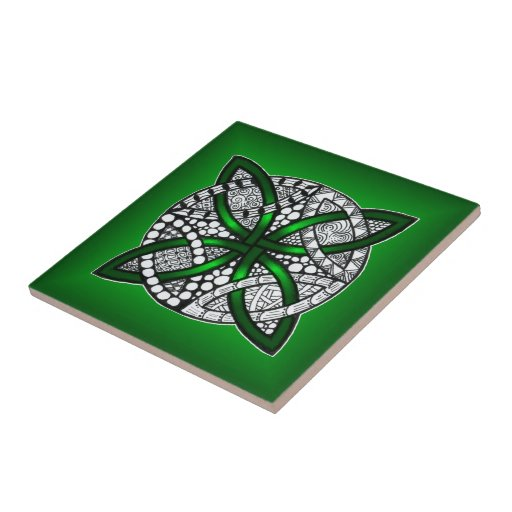 Arte céltico verde de la original del nudo azulejo ceramica