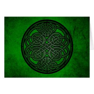 Arte céltico verde del nudo tarjetón