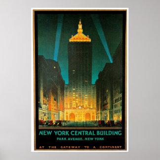 Arte central del viaje del edificio de New York Ci Poster