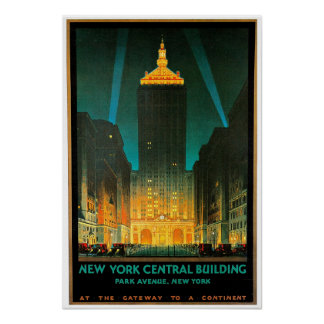 Arte central del viaje del edificio de New York Ci Póster
