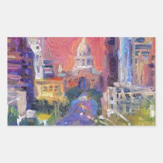 Arte céntrico colorido de la avenida del congreso rectangular pegatinas