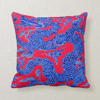 Arte chino azul rojo del florero del vintage del cojín