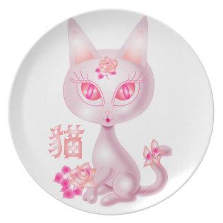 Arte chino BG blanca del gato de Kawaii Plato De Cena