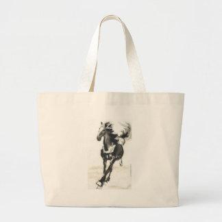 Arte chino - caballos bolsa de tela grande