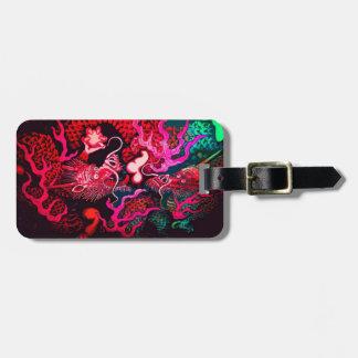 Arte chino colorido del dragón etiqueta de maleta