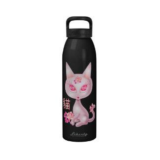 Arte chino del gato de Kawaii Botella De Agua Reutilizable