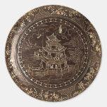 Arte chino etiqueta redonda