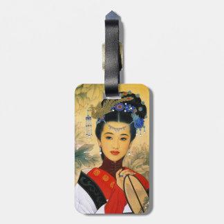 Arte chino hermoso joven fresco de princesa Guo Ji Etiquetas Para Equipaje