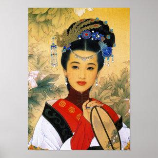Arte chino hermoso joven fresco de princesa Guo Ji Póster