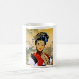 Arte chino hermoso joven fresco de princesa Guo Taza Básica Blanca