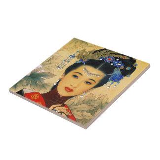 Arte chino hermoso joven fresco de príncipe Guo Ji Azulejo Cuadrado Pequeño