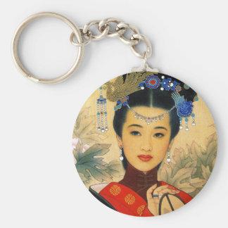 Arte chino hermoso joven fresco de príncipe Guo Llavero Redondo Tipo Pin