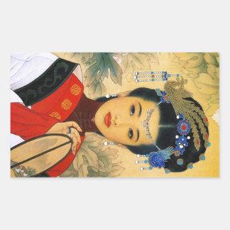 Arte chino hermoso joven fresco de príncipe Guo Pegatina Rectangular