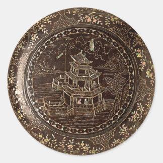 Arte chino pegatina redonda