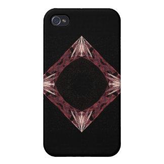 Arte chispeante rojo del fractal del diamante iPhone 4/4S carcasas