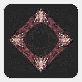 Arte chispeante rojo del fractal del diamante calcomania cuadradas