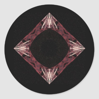 Arte chispeante rojo del fractal del diamante etiqueta redonda