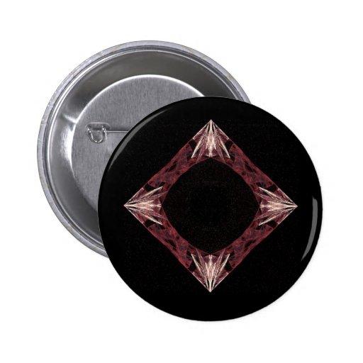 Arte chispeante rojo del fractal del diamante pin redondo 5 cm