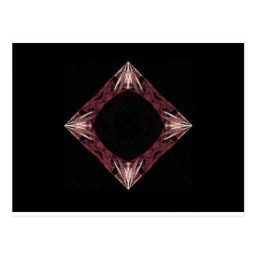 Arte chispeante rojo del fractal del diamante tarjetas postales