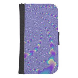 Arte ciánico y púrpura del fractal de las luces billetera para galaxy s4