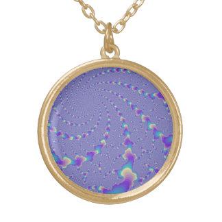 Arte ciánico y púrpura del fractal de las luces collar dorado