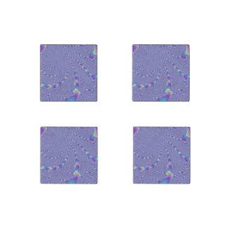 Arte ciánico y púrpura del fractal de las luces imán de piedra