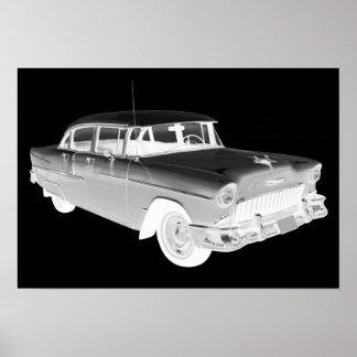 Arte clásico 1955 del coche del Bel Air de Póster