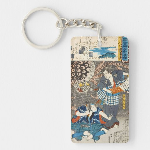 Arte clásico de los samurais de Utagawa del Llavero Rectangular Acrílico A Doble Cara