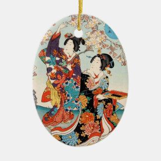 Arte clásico de Utagawa de los geishas del ukiyo-e Ornamento Para Arbol De Navidad