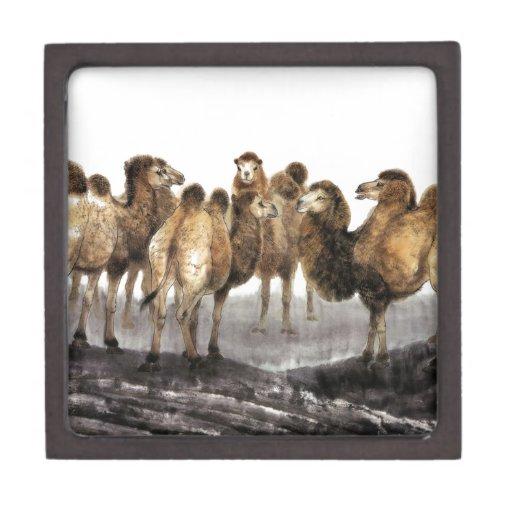 Arte clásico del estilo chino, manada de camellos cajas de regalo de calidad