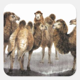 Arte clásico del estilo chino, manada de camellos pegatina cuadrada