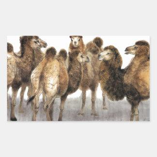 Arte clásico del estilo chino, manada de camellos pegatina rectangular