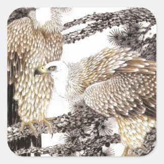 Arte clásico del estilo chino, pájaros en los pegatina cuadrada