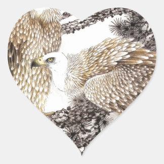 Arte clásico del estilo chino, pájaros en los pegatina en forma de corazón