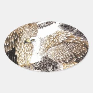 Arte clásico del estilo chino, pájaros en los pegatina ovalada
