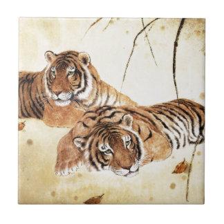Arte clásico del estilo chino, tigres de descanso azulejo cuadrado pequeño