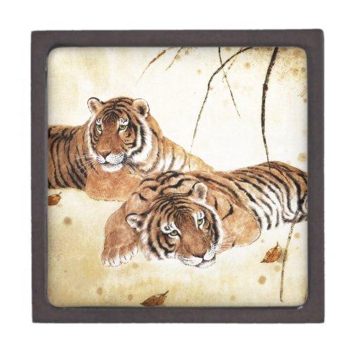 Arte clásico del estilo chino, tigres de descanso cajas de joyas de calidad