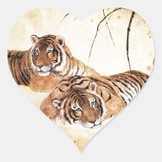 Arte clásico del estilo chino, tigres de descanso pegatina en forma de corazón