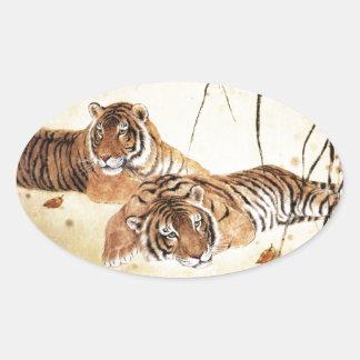 Arte clásico del estilo chino, tigres de descanso pegatina ovalada
