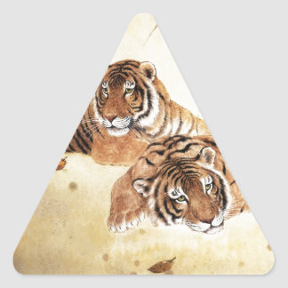 Arte clásico del estilo chino, tigres de descanso pegatina triangular